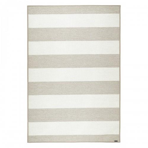 Béžovo-biely kusový koberec Viiva fínskej značky VM-Carpet z vlny, papierového vlákna a ľanu