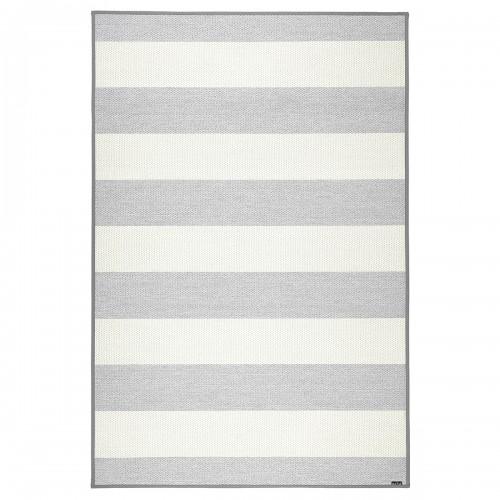 Sivo-biely kusový koberec Viiva fínskej značky VM-Carpet z vlny, papierového vlákna a ľanu