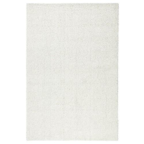 Biely kusový koberec Viita fínskej značky VM-Carpet z vlny a ľanu
